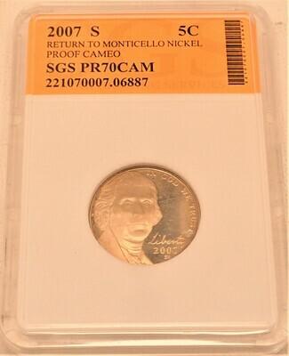 2007 S JEFFERSON NICKEL PROOF CAMEO (RETURN TO MONTICELLO) SGS  221070007 06887