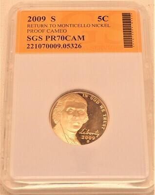 2009 S JEFFERSON NICKEL PROOF CAMEO (RETURN TO MONTICELLO) SGS  221070009 05326
