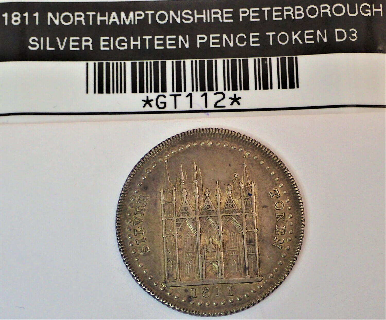 1811 NORTHAMPTON SHIRE PETERBOROUGH BANK (SILVER EIGHTEEN PENCE TOKEN D3) GT112