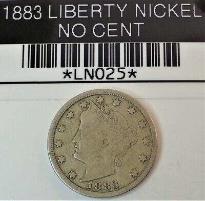 1883 LIBERTY V NICKEL (NO CENT) LN025