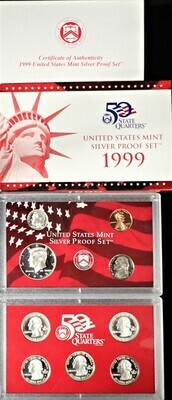 1999 SILVER  PROOF SET BOX & PAPERS PSS1030