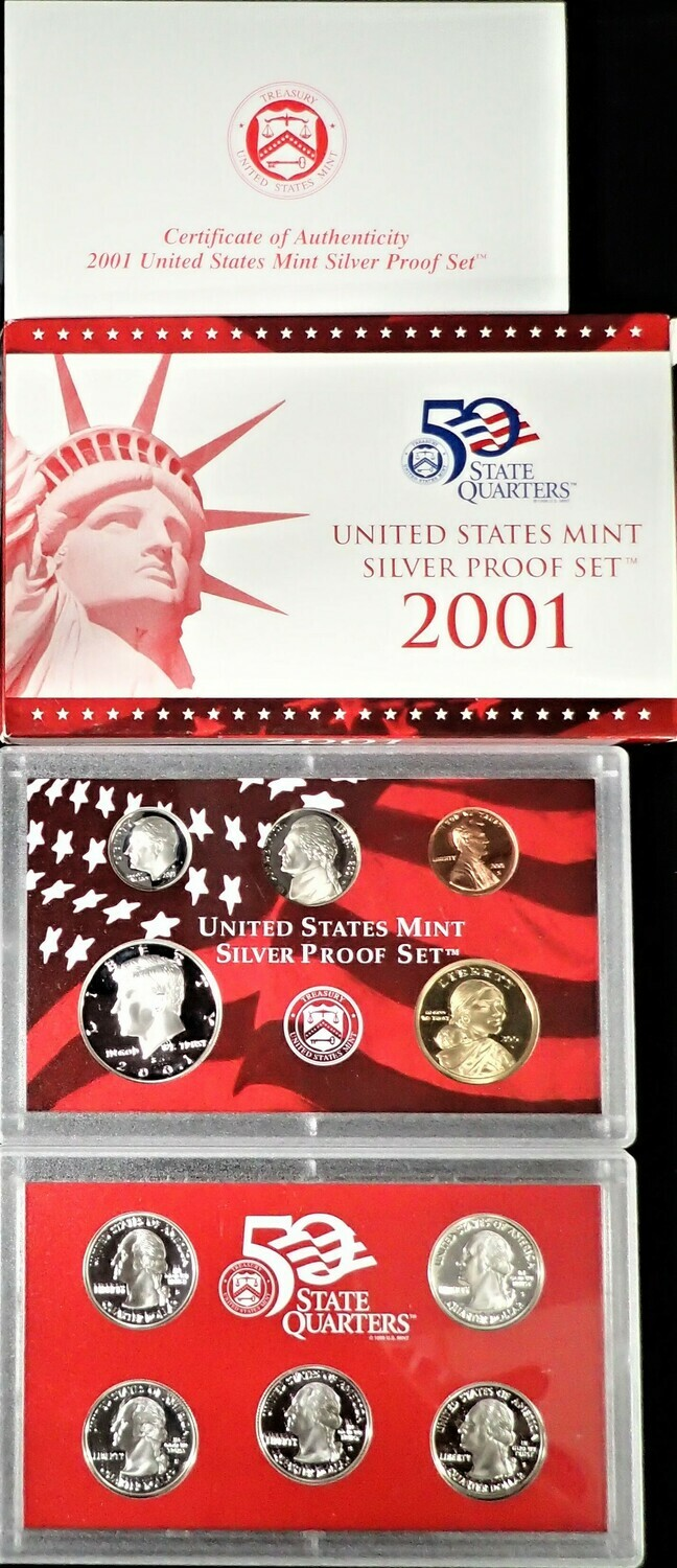 2001 SILVER  PROOF SET BOX & PAPERS PSS1032