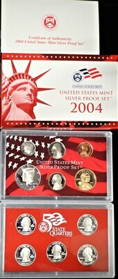 2004 SILVER  PROOF SET BOX & PAPERS PSS1035