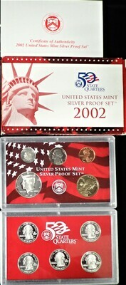 2002 SILVER  PROOF SET BOX & PAPERS PSS1033