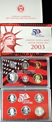 2003 SILVER  PROOF SET BOX & PAPERS PSS1034