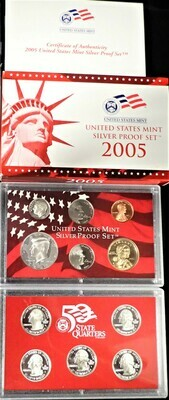 2005 SILVER  PROOF SET BOX & PAPERS PSS1036