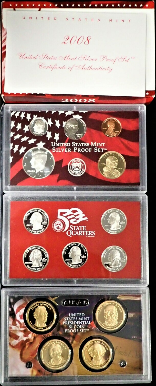 2008 SILVER  PROOF SET BOX & PAPERS PSS1039