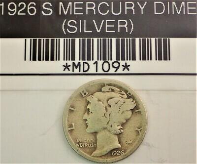 1926 S MERCURY DIME (SILVER) MD109