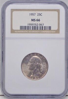 1957 WASHINGTON $.25  NGC MS 66 1959752-067