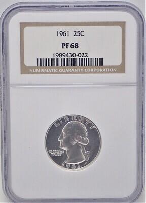 1961 WASHINGTON $.25 (PROOF) NGC PF68 1989430-022