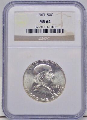 1963 BEN FRANKLIN $.50 NGC MS 64 3291051-018