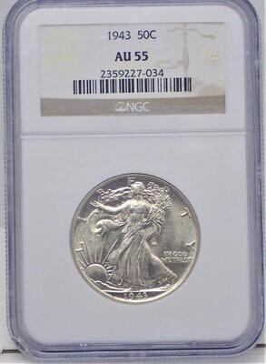 1943  WALKING LIBERTY $.50 NGC AU55 2359227-034