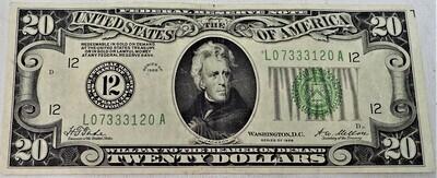 1928 $20 FEDERAL RESERVE NOTE L07333120A