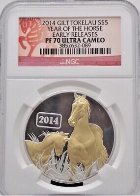 2014 $5.00 GILT TOKELAU ISLAND HORSE 1 OZ SILVER TROY NGC PF70 ULTRA CAMEO 3852632 089
