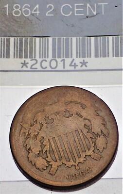 1864 2 CENT 2C014