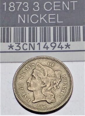 1865 3 CENT 3CN1494