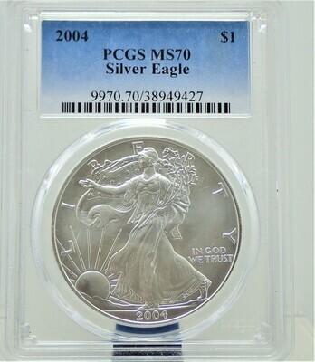 2004  AMERICAN EAGLE SILVER PCGS MS70 9970 70 38949427