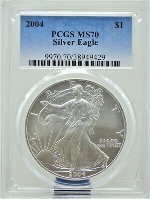 2004  AMERICAN EAGLE SILVER PCGS MS 70 9970 70 38949429