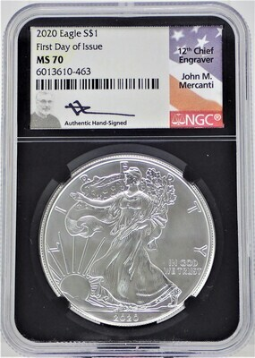 2020 $1 SILVER AMERICAN EAGLE (FIRST DAY OF ISSUE) (LABEL 12TH CHIEF ENGRAVER) NGC  MS70 6013610 463