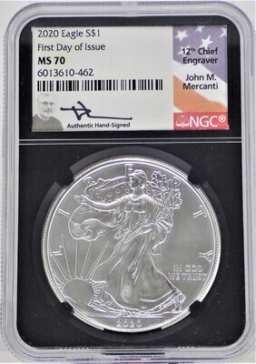 2020 $1 SILVER AMERICAN EAGLE (FIRST DAY OF ISSUE) (LABEL 12TH CHIEF ENGRAVER) NGC  MS70 6013610-462