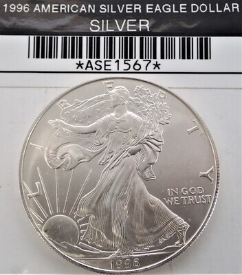 1996 $1 AMERICAN SILVER EAGLE ASE1567