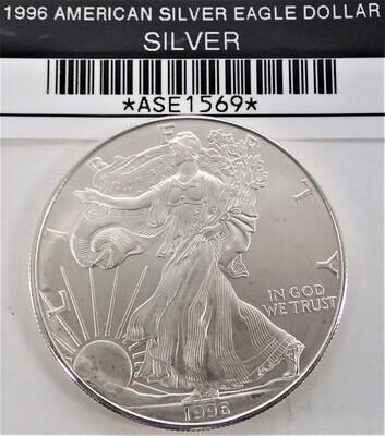 1996 $1 AMERICAN SILVER EAGLE ASE1569