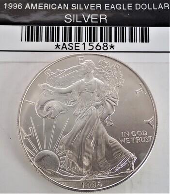 1996 $1 AMERICAN SILVER EAGLE ASE1568