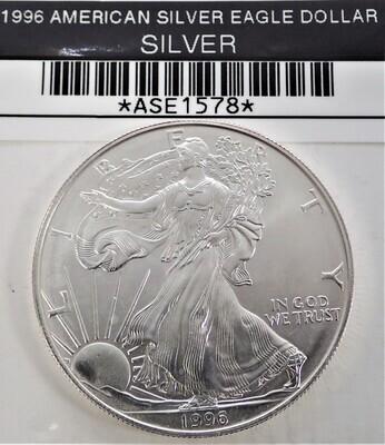 1996 $1 AMERICAN SILVER EAGLE ASE1578