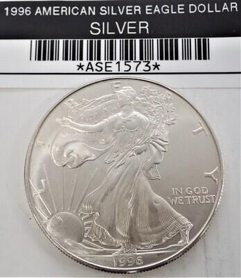 1996 $1 AMERICAN SILVER EAGLE ASE1573