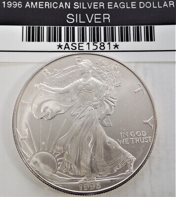 1996 $1 AMERICAN SILVER EAGLE ASE1581