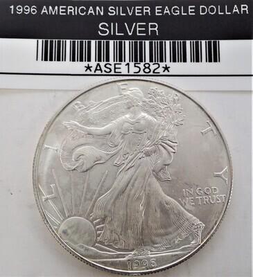 1996 $1 AMERICAN SILVER EAGLE ASE1582