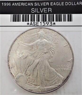 1996 $1 AMERICAN SILVER EAGLE ASE1593
