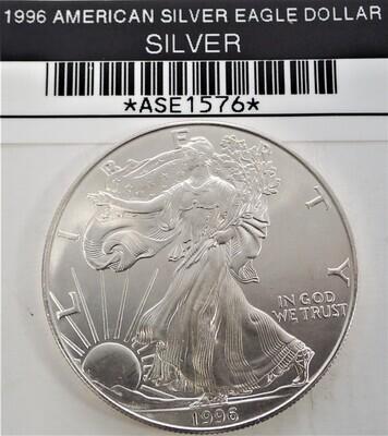 1996 $1 AMERICAN SILVER EAGLE ASE1576