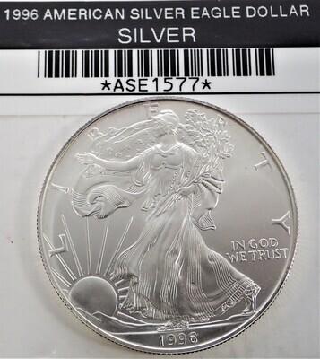 1996 $1 AMERICAN SILVER EAGLE ASE1577