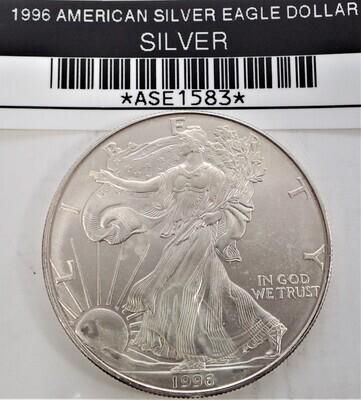1996 $1 AMERICAN SILVER EAGLE ASE1583