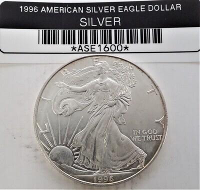 1996 $1 AMERICAN SILVER EAGLE ASE1600