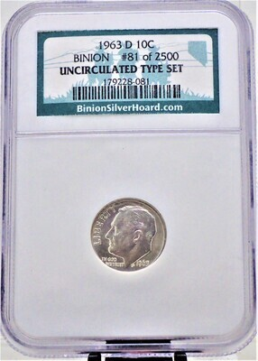 1963 D ROOSEVELT DIME BINION #81 OF 2500 UNCIRCULATED TYPE SET NGC 179228 081