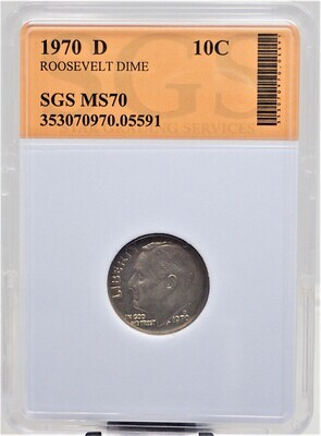 1970 D ROOSEVELT DIME SGS MS70 05591