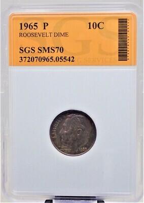 1965 P ROOSEVELT DIME SGS SMS70 05542