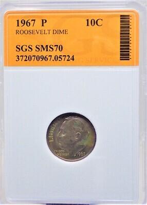 1967 P ROOSEVELT DIME SGS SMS70 05724