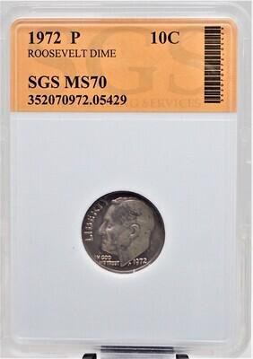 1972 P ROOSEVELT DIME SGS MS70 05429