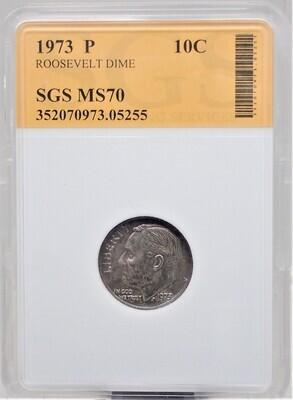 1973 P ROOSEVELT DIME SGS MS70 05255