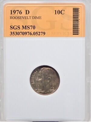 1976 D ROOSEVELT DIME SGS MS70 05279