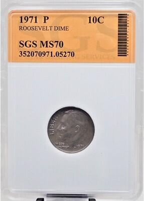1971 P ROOSEVELT DIME SGS MS70 05270