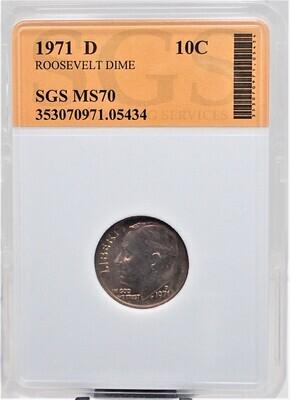 1971 D ROOSEVELT DIME SGS MS70 05434