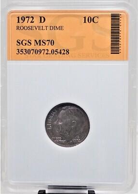 1972 D ROOSEVELT DIME SGS MS70 05428