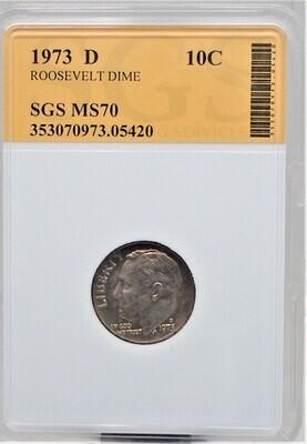 1973 D ROOSEVELT DIME SGS MS70 05420