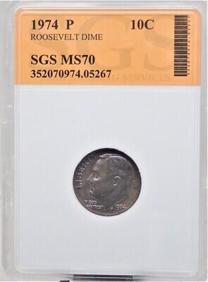 1974 P ROOSEVELT DIME SGS MS70 05267