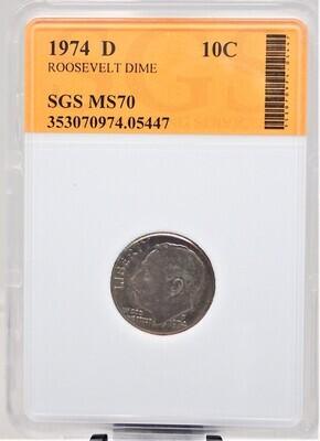 1974 D ROOSEVELT DIME SGS MS70 05447