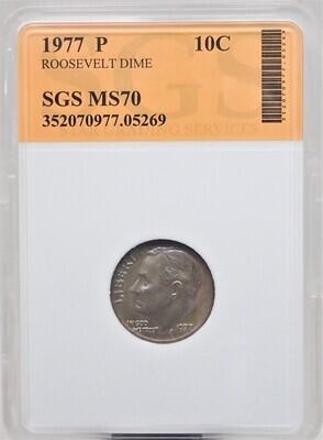 1977 P ROOSEVELT DIME SGS MS70 05269